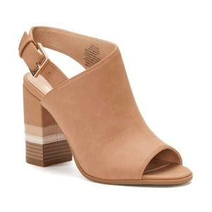 Brown Wooden Block Heel Peep Toe Strap Booties 9.5